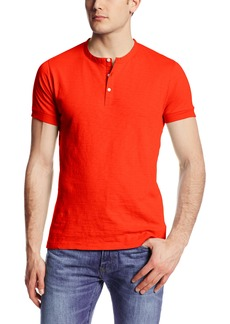 French Connection Men's Short Sleeve Slub Henley Shirt SOS