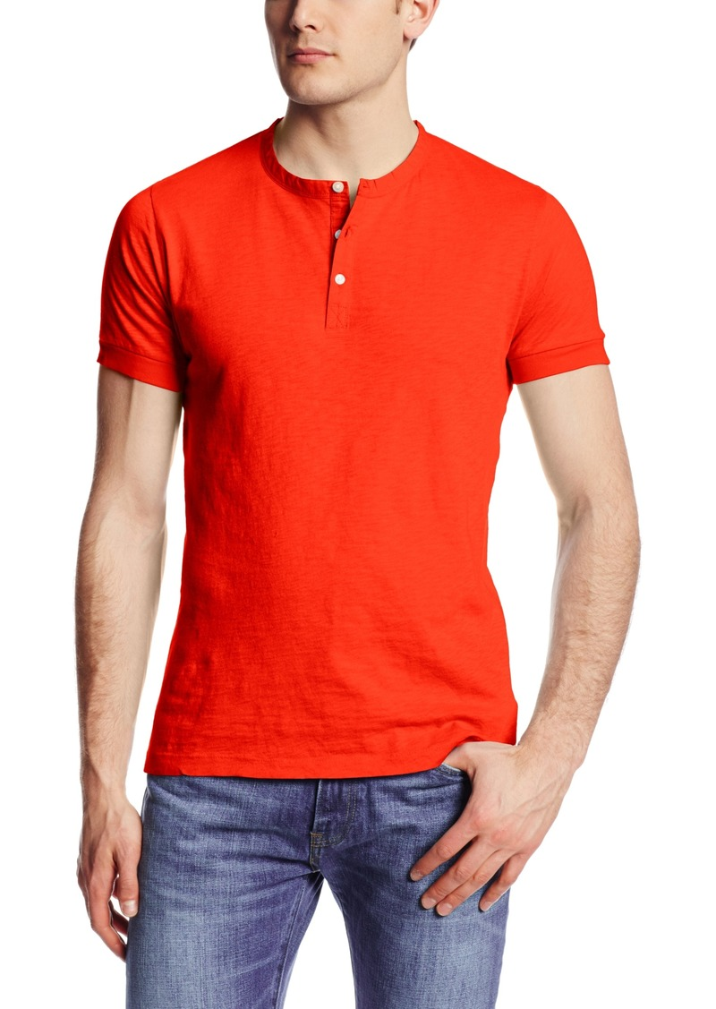 French Connection Men's Short Sleeve Slub Henley Shirt SOS