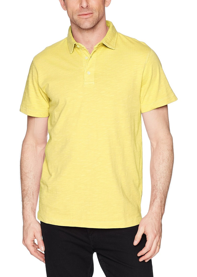 French Connection Men's Short Sleeve Solid Color Regular Fit Cotton Polo Shirt BRANDIED Apricot slub 1 S