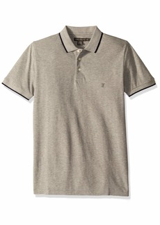 French Connection Men's Short Sleeve Solid Color Regular Fit Polo Shirt Light Gray Melange/Marine M