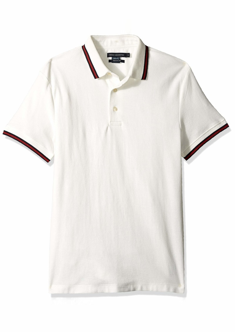 French Connection Men's Short Sleeve Stripe Cotton Polo Shirt Milk/Brick Red XL