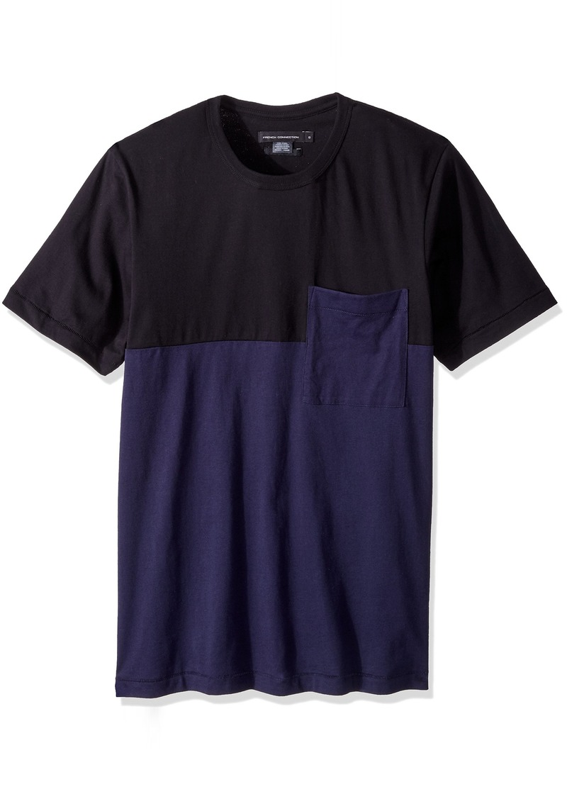 French Connection Men's Short Sleeve Stripe Crew Neck Cotton T-Shirt  S