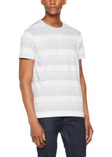 French Connection Men's Short Sleeve Stripe Crew Neck T-Shirt Kentucky Blue M