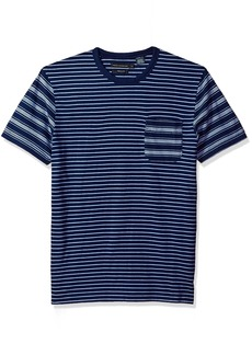 French Connection Men's Short Sleeve Stripe Crew Neck T-Shirt  M