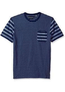 French Connection Men's Short Sleeve Stripe Crew Neck T-Shirt  L