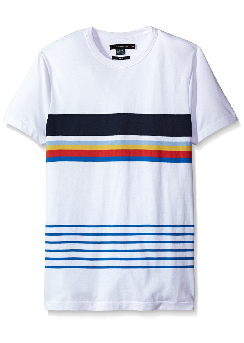 French Connection Men's Short Sleeve Stripe Crew Neck T-Shirt  L