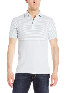 French Connection Men's Short Sleeve Stripe Slim Fit Polo Shirt Kentucky Blue S