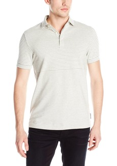 French Connection Men's Short Sleeve Stripe Slim Fit Polo Shirt  M