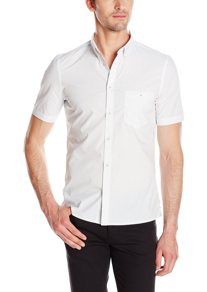 French Connection Men's Slapper Triangle Print Short Sleeve Button Down Shirt