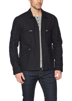 French Connection Men's Slub Stretch  Twill Jacket with Zippers L
