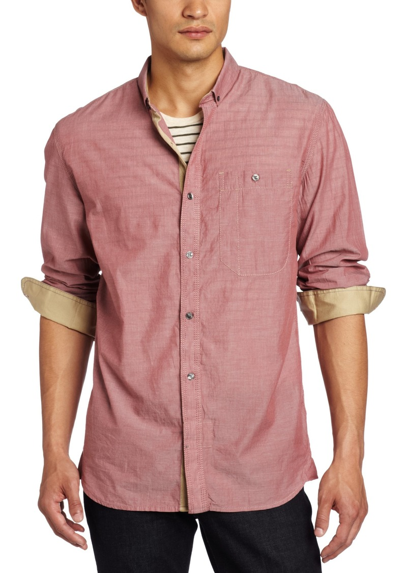 French Connection Men's Stebbns Chambray Voile Long Sleeve Shirt