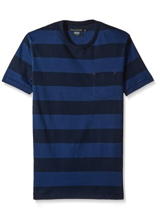 French Connection Men's Varsity View Stripes Slim Crew Depths/Marine Blue L