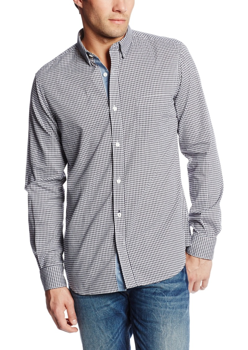 French Connection Men's Wax Job Gingham Woven Shirt