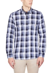 French Connection Men's Wilton County Pixel Double Long Sleeve Button Down
