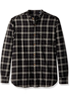 French Connection Men's Worsted Wool Check Button Down Shirt Black S