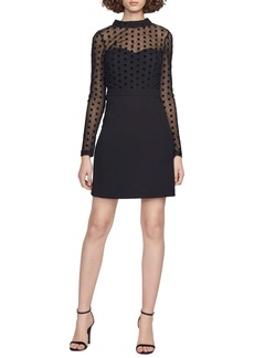 French Connection Mesh & Jersey Sheath Dress