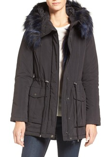 French Connection Microfiber Anorak with Faux Fur Trim
