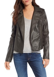 French Connection Mix Texture Faux Leather Moto Jacket