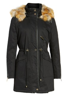 French Connection Mixed Media Parka with Faux Fur Hood