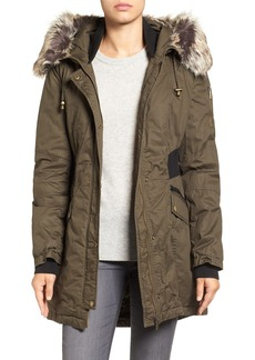 French Connection Mixed Media Parka with Faux Fur Trim Hood