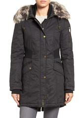 French Connection Mixed Media Parka with Faux Fur Trim Hood (Regular & Petite)