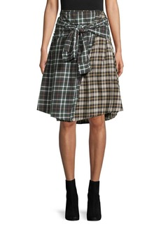 French Connection Mixed Plaid Knee-Length Cotton Skirt