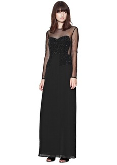 French Connection Moondust Long Sleeve Sequin Maxi...