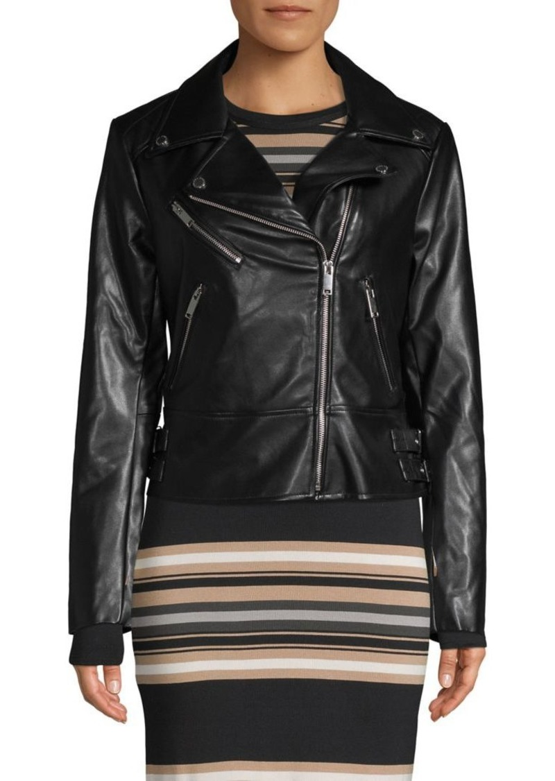 French Connection Notch Collar Faux Leather Moto Jacket