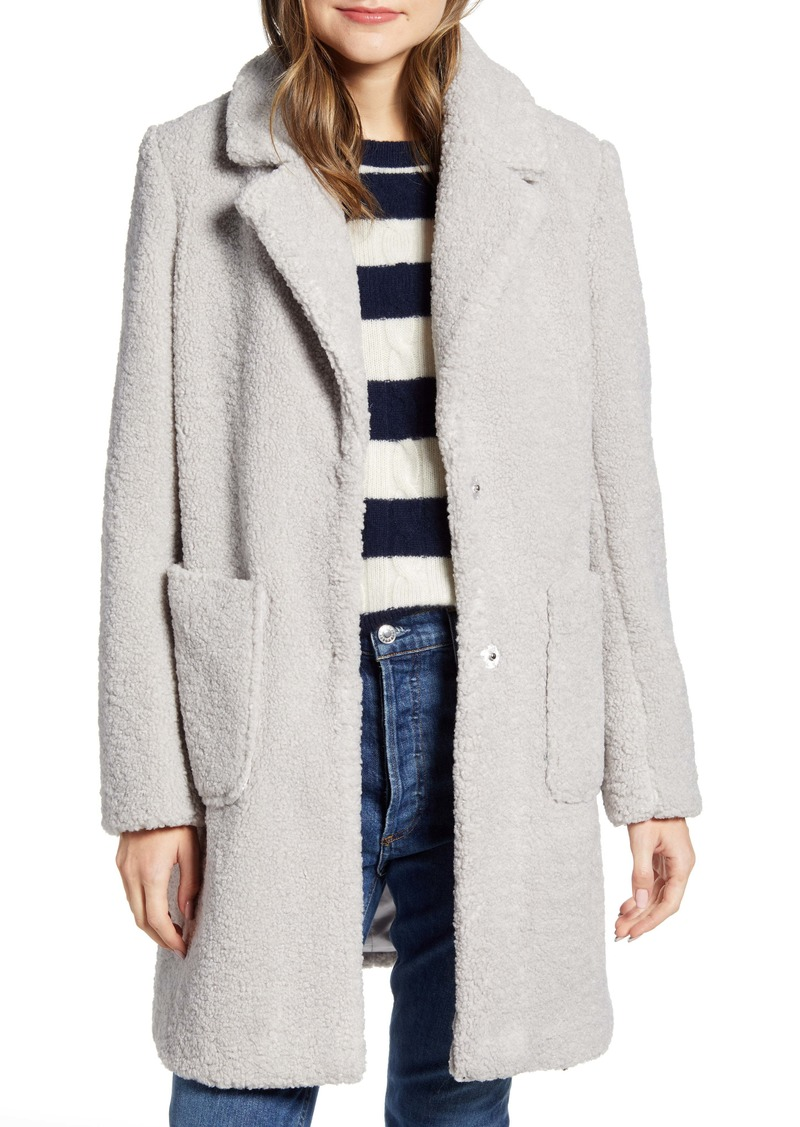French Connection Notch Collar Faux Shearling Coat