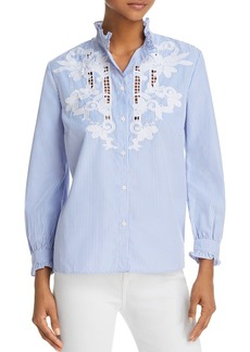 FRENCH CONNECTION Olasega Stripe Embroidered Shirt