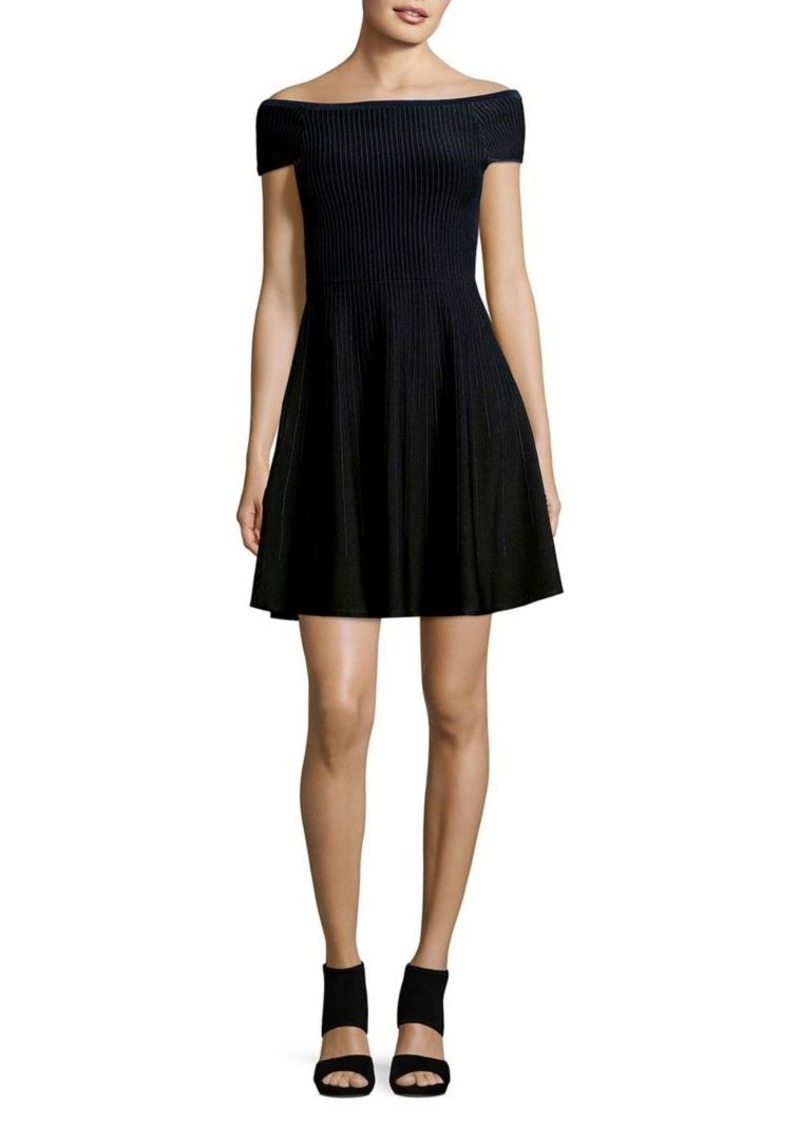 French Connection Olivia Crepe Knit Fit-&-Flare Dress