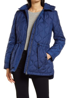 French Connection Onion Quilted Hooded Coat