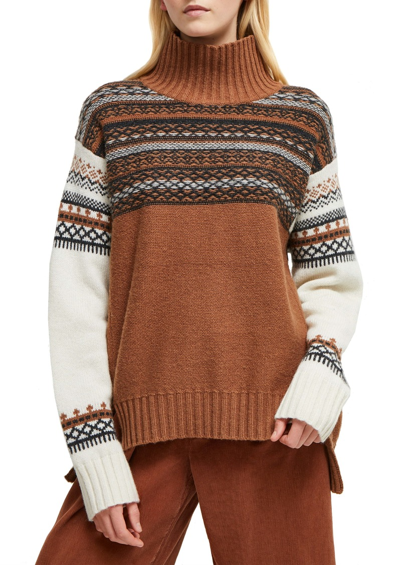 French Connection Patchwork Fairisle Turtleneck Sweater
