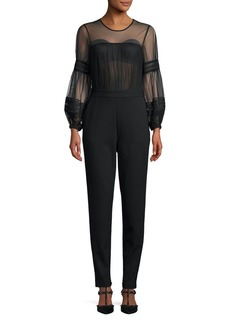 French Connection Paulette Sheer Long-Sleeve Jumpsuit