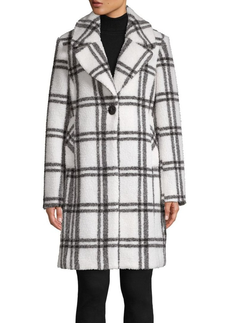 French Connection Plaid Notch-Collar Coat