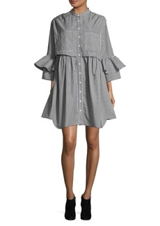 French Connection Pleated Bell-Sleeve Shirt Dress
