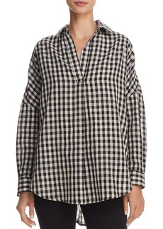 FRENCH CONNECTION Pleated Gingham Shirt