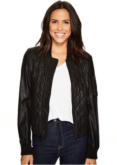 French Connection Pleather Diamond Quilt Bomber