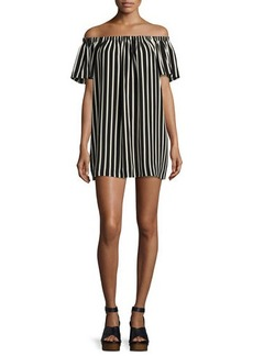 French Connection Polly Plains Off-the-Shoulder Striped Dress