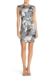 French Connection Print Stretch Cotton Sheath Dress