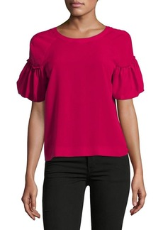 French Connection Puff-Sleeve Bow Top