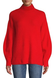 French Connection Puffed-Sleeve Ribbed Sweater
