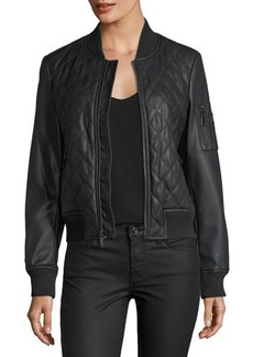 French Connection Quilted Faux-Leather Bomber Jacket