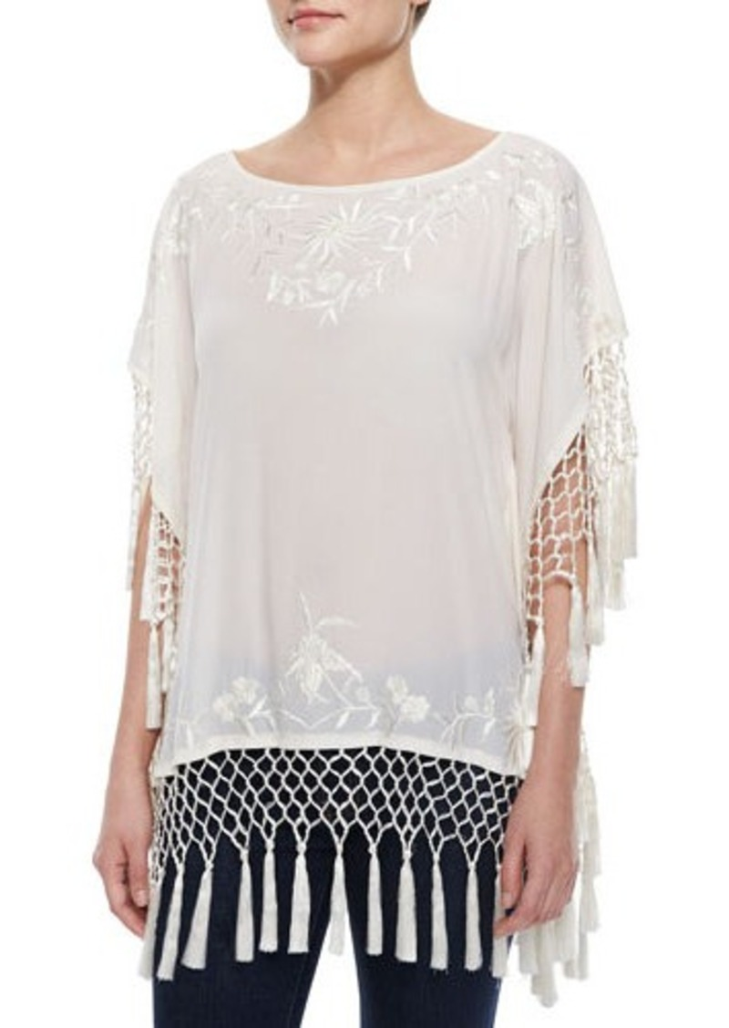 French Connection Raquel Embroidered Fringe Top