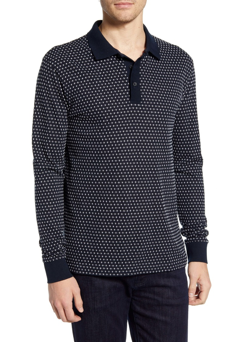 French Connection Regular Fit Jacquard Dot Long Sleeve Polo