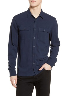 French Connection Regular Fit Jersey Cotton Button-Up Shirt