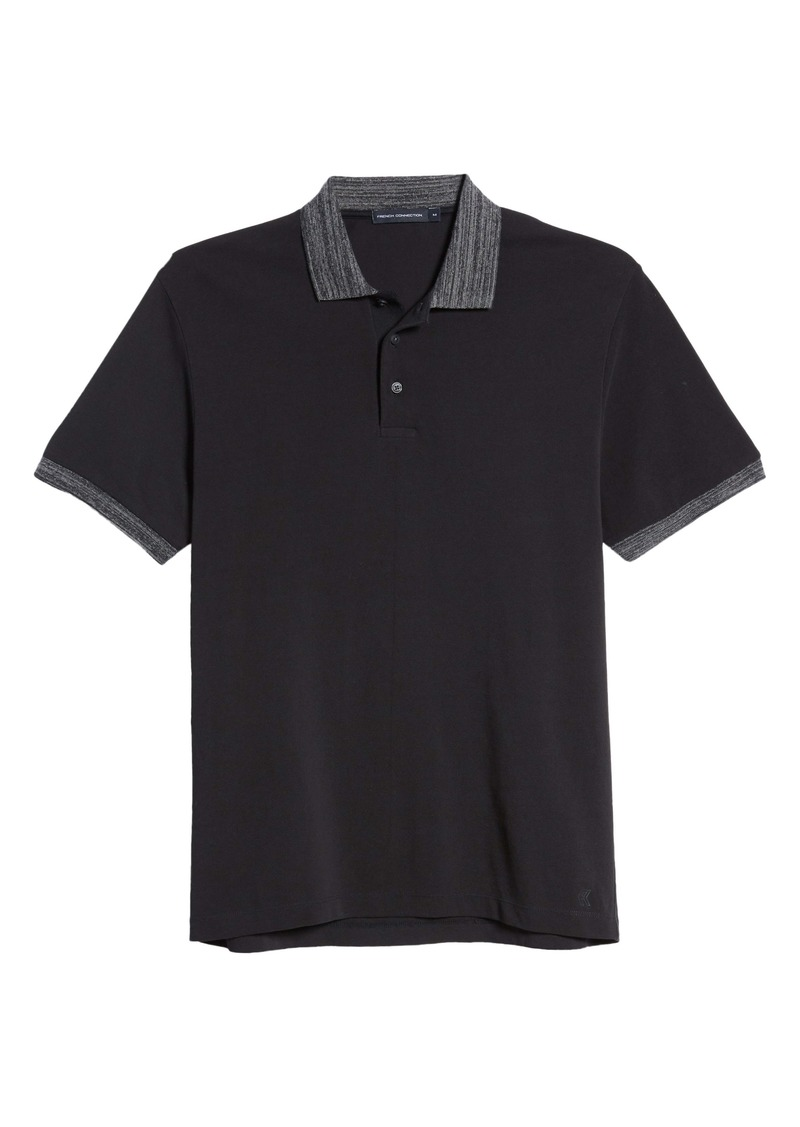 French Connection Regular Fit Mélange Cotton Piqué Polo