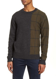 French Connection Regular Fit Windowpane Wool Blend Sweater