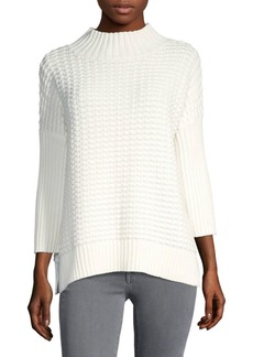 Ribbed Mockneck Cotton Sweater