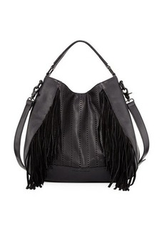 French Connection Rose Laser-Cut Fringe Hobo Bag